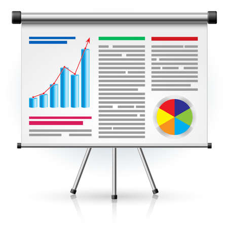 The screen with the business schedule. Illustration on white background Illustration