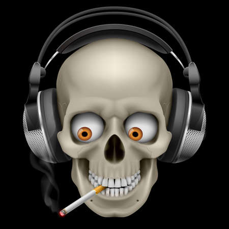 earphone: Skull with headphones with a cigarette. Illustration on black background