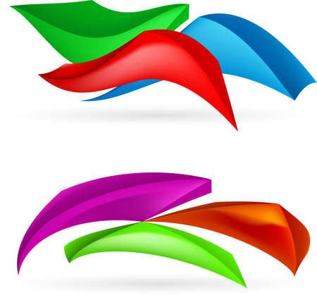 page curl: Three colorful abstract forms.  Illustration on white background