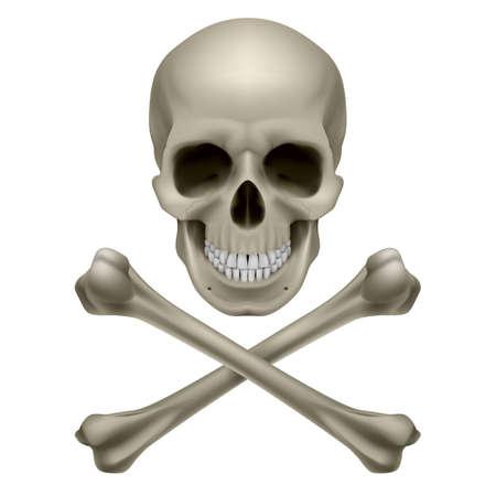 skull tattoo: Schedel en gekruiste knekels. Illustratie op witte achtergrond Stock Illustratie