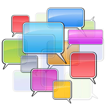 chat window: Colorful icons sms. Illustration on white background