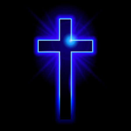 cruz religiosa: Blue símbolo cristiano de la cruz. Ilustración sobre fondo negro
