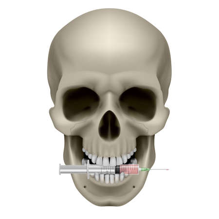 eerie: Realistic skull with a cigarette. Illustration on white background  Illustration