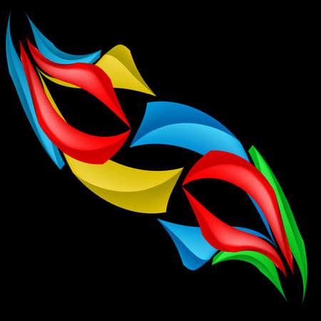 abstracte vormen: Kleurrijke abstracte vormen. Illustratie op zwarte achtergrond voor ontwerp