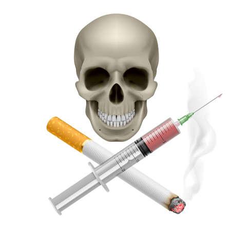 передозировка: Реалистичная черепа с сигаретой и шприц. Иллюстрация на белом фоне