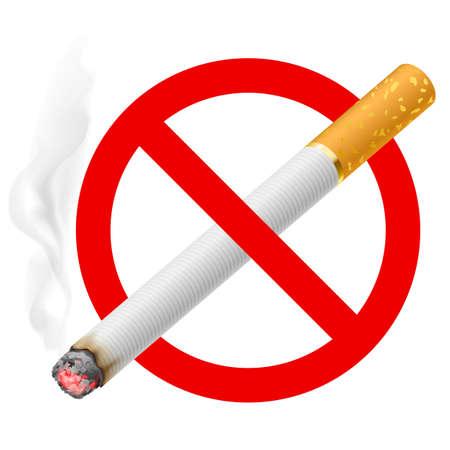 prohibido fumar: La señal de no fumar. Ilustración sobre fondo blanco Vectores
