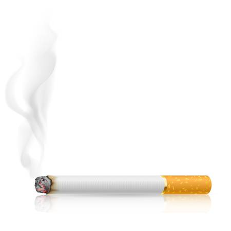 black smoke: Cigarette burns. Illustration on white background.