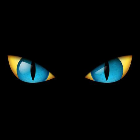 Evil Blue Eye. Illustration on black background. Stock Vector - 13767613
