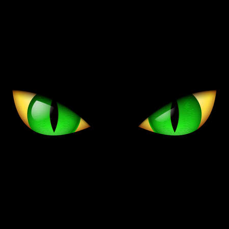 witch face: Evil Green Eye. Illustration on black background.