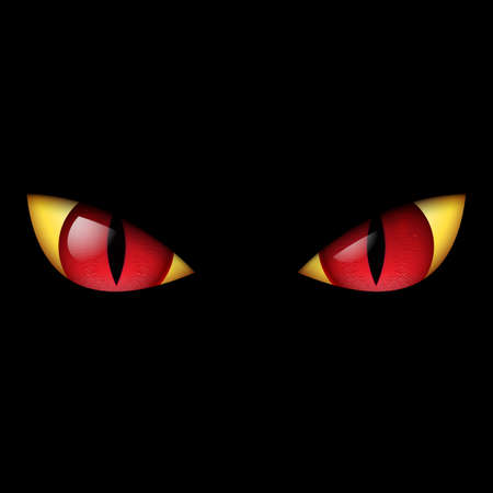 megrémült: Evil Red Eye. Illusztráció fekete háttér. Illusztráció