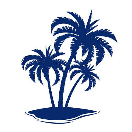 arbres silhouette: Tropical Island. Illustration sur fond blanc.