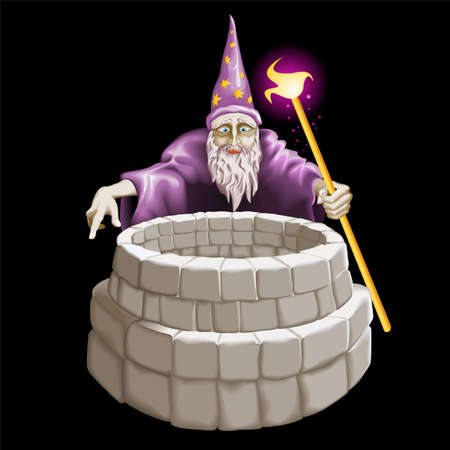 warlock: Good magician and a well. Illustration on white background.