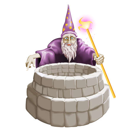 Wizard and the well. Illustration on white background. Vector
