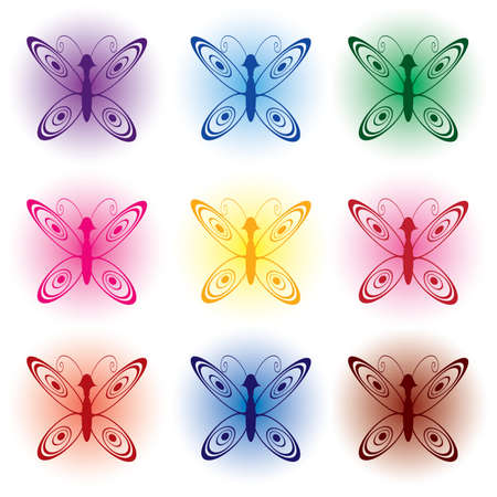 Set of colored abstract butterflies. Illustration on white background. Vector
