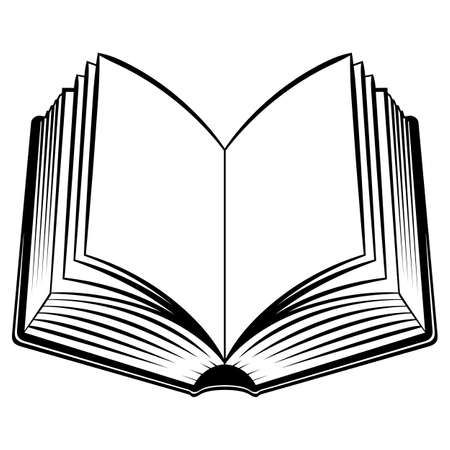 libro abierto: Libro Abierto. Ilustración en blanco y negro para el diseño