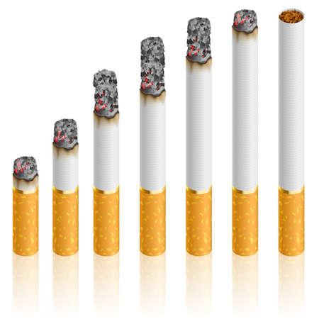 Juego de cigarrillos en distintas etapas de la grabación.