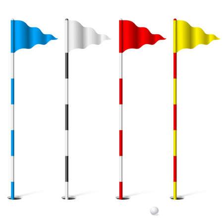 golf drapeau: Drapeaux du terrain de golf. Illustration sur fond blanc.