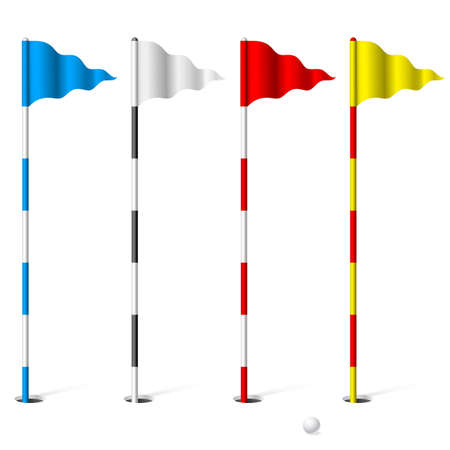 holes: Flags of the golf course. Illustration on white background.