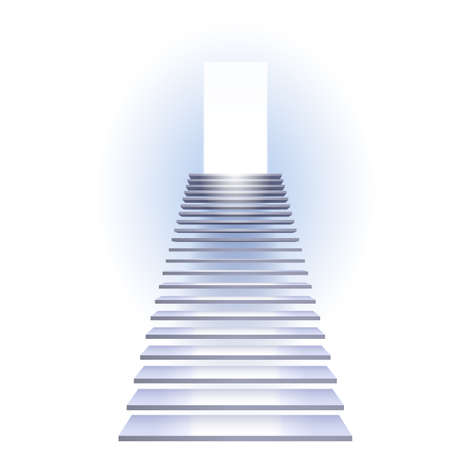 Escalera hacia el éxito. Ilustración sobre fondo blanco.