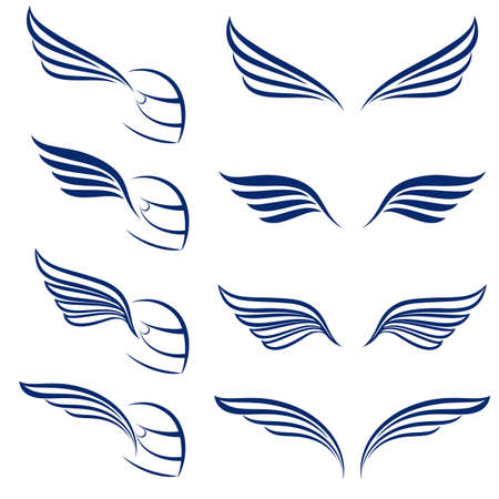 Elements of design racing wings. Illustration on white background.  Vector