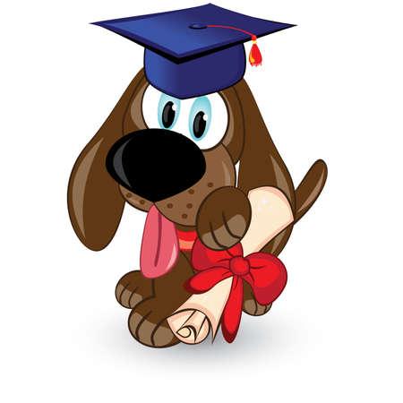 gorros de graduacion: Perro de la historieta es un graduado de. Ilustración sobre fondo blanco.