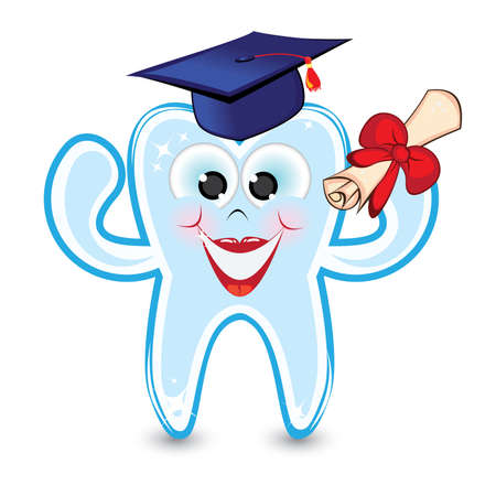 Smiley tooth wearing a graduation cap and holding a diploma. Vector