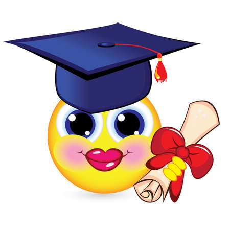 abstract academic: Cheerful smiley graduate. Illustration on white background.