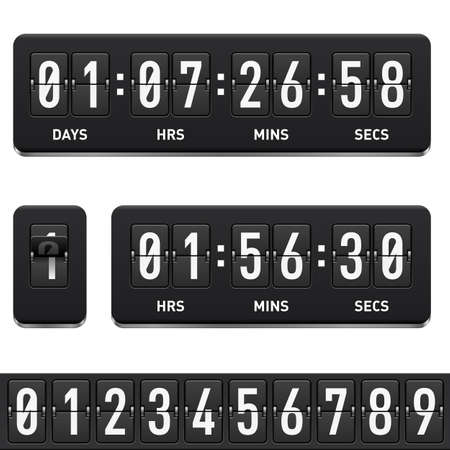 digital numbers: Countdown timer. Illustration on white background for design