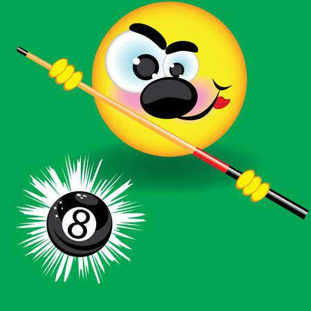 bola ocho: Divertidos de la piscina sonriendo balón en el fondo verde