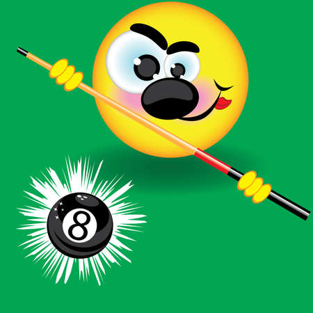 eight ball: Funny smiling pool ball on the green background