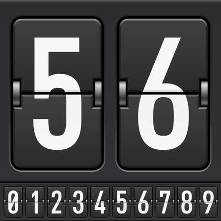 scorebord: Getallen van Mechanische scorebord alfabet. Illustratie voor ontwerp