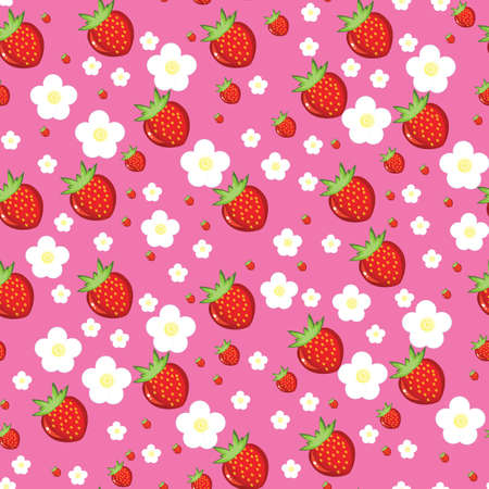 Seamless texture of red strawberries. Illustration on pink background