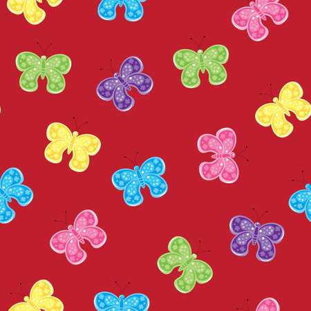 Seamless texture of colorful butterfly. Illustration of the designer on red background    Vector