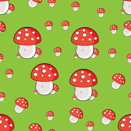 toxic mushroom: Seamless texture of mushroom. Illustration of the designer on green background