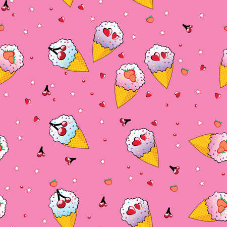 Seamless texture of the different ice cream. Illustration of the designer on pink background Vector