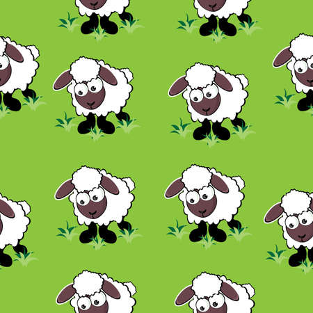 Seamless texture of cartoon sheep. Illustration of the designer on green background Vector