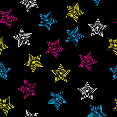 chaotic: Seamless texture of colorful stars.  Illustration of the designer on black background