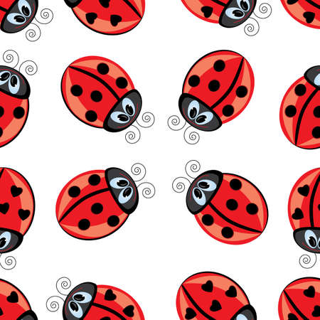 Seamless texture of cartoon ladybug. Illustration of the designer on white background Vector