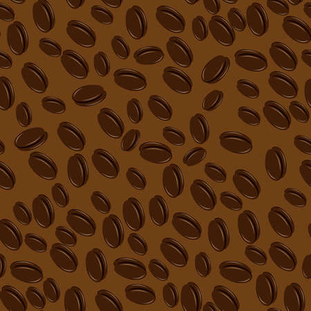 Coffee beans seamless. Illustration on brown background  Vector