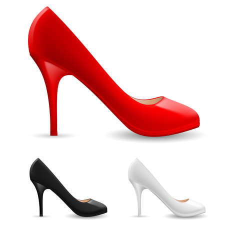 Colorful womens Shoes. Illustration on white background Vector