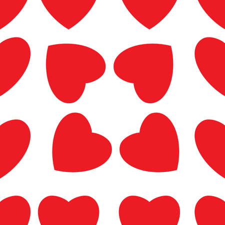 happy valentine s day: Seamless texture of red hearts. Illustration on white background