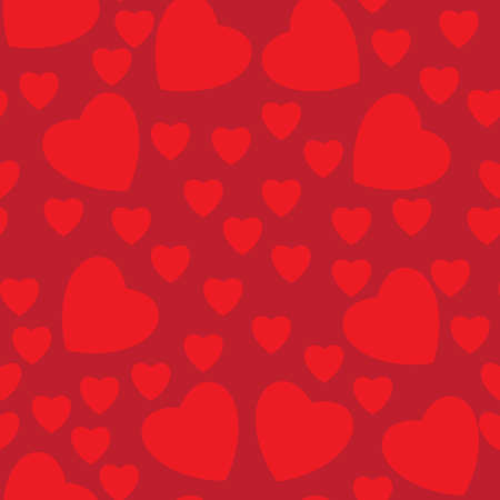 happy valentine s day: Seamless texture of hearts. Illustration on red background
