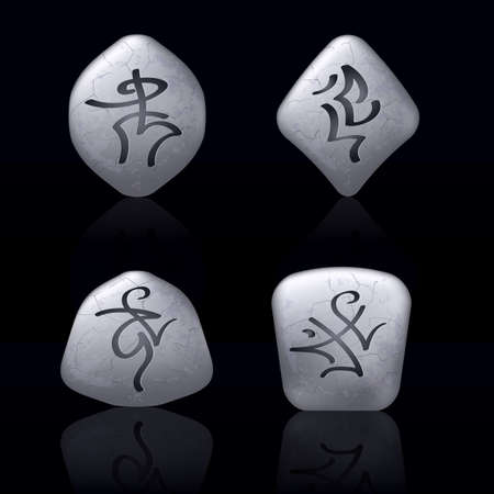 Runic Stones with Magical Spells. Set number Five on black Vector
