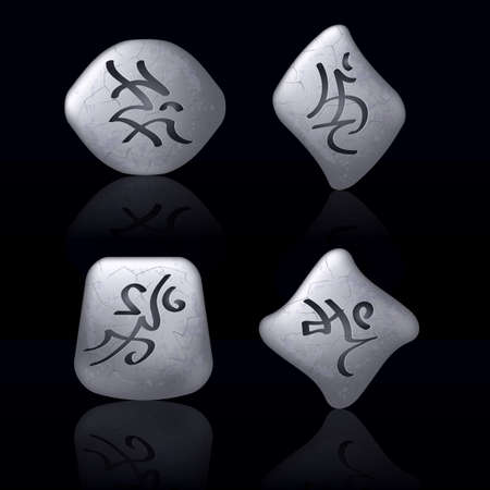 Runic Stones with Magical Spells. Set number Three on black Vector