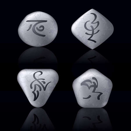 Runic Stones with Magical Spells. Set number Two on black Vector