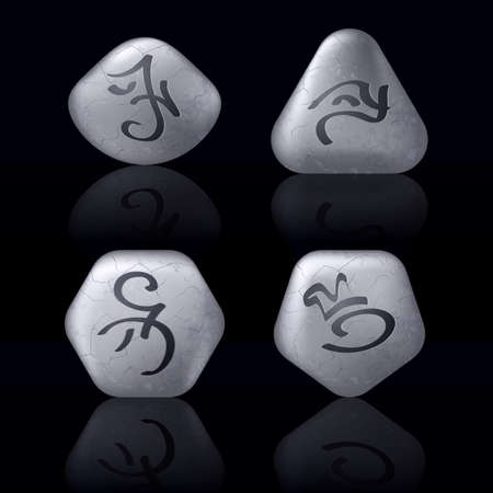 Runic Stones with Magical Spells. Set number One on black Vector