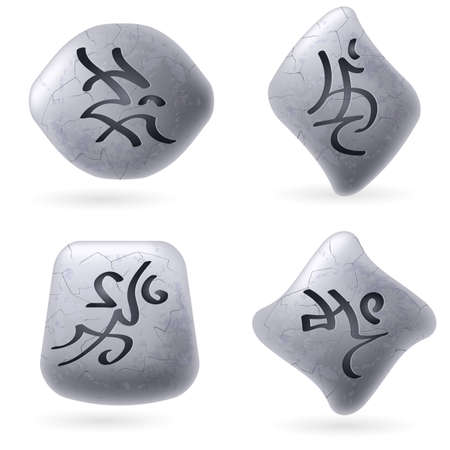 Runic Stones with Magical Spells. Set number Three on white Vector