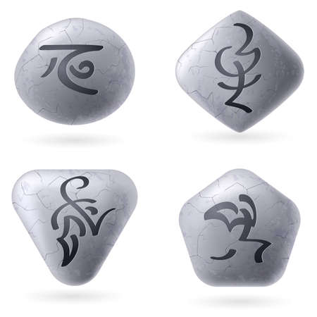 spells: Runic Stones with Magical Spells. Set number Two on white