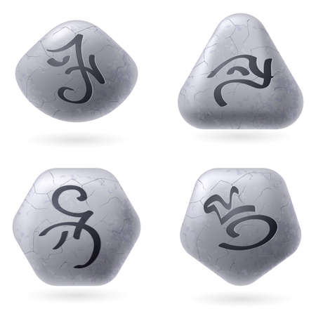 spells: Runic Stones with Magical Spells. Set number One on white Illustration