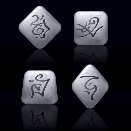 Runic Stones with Magical Spells. Set number Seven on black Vector